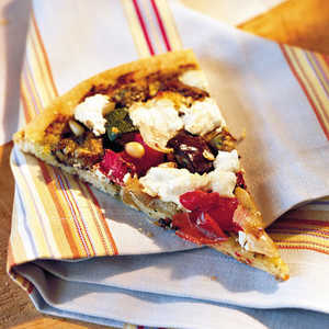 Roasted Vegetable-and-Goat Cheese PizzaRecipe