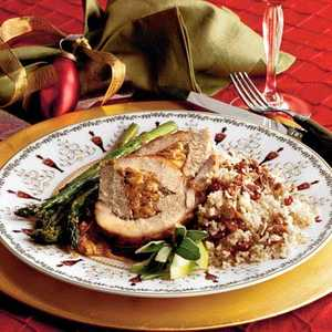 Spiced-and-Stuffed Pork Loin With Cider SauceRecipe