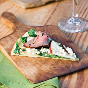 Grilled Pizza With Steak, Pear, and Arugula Recipe