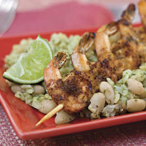 Chili-and-Lime Grilled Shrimp With Seasoned White Beans and RiceRecipe