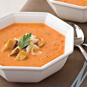 Roasted Red Pepper Soup With Pesto CroutonsRecipe