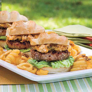 Pecan-Crusted Pork Burgers With Dried Apricot-Chipotle MayonnaiseRecipe