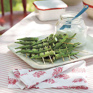 Peppery Grilled Okra With Lemon-Basil Dipping SauceRecipe