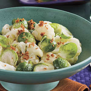 Crumb-Topped Brussels Sprouts and CauliflowerRecipe