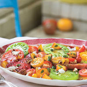 Heirloom Tomatoes with Fresh Peaches, Goat Cheese, and Pecans Recipe