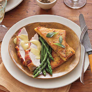 Roasted Turkey Breast with Pan-fried Polenta and Hollandaise SauceRecipe