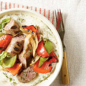 Grilled Peppers and Sausage with Cheese GritsRecipe