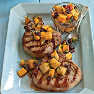 Grilled Pork Porterhouse with Peach AgrodolceRecipe
