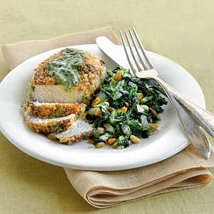 Pesto-Crusted Pork Chops with Sweet-and-Sour CollardsRecipe