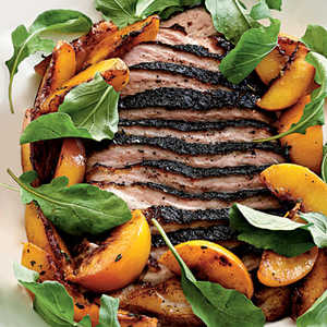 Roasted Pork Belly with Late-Harvest Peaches and ArugulaRecipe