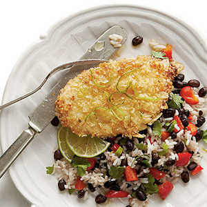 Honey-Lime Chicken with Coconut-Black Bean RiceRecipe