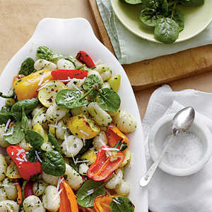 Roasted Vegetable Gnocchi with Spinach-Herb Pesto Recipe