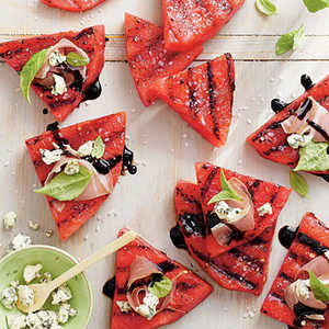 Grilled Watermelon with Blue Cheese and ProsciuttoRecipe