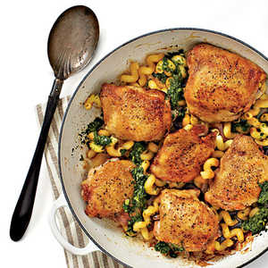 Crispy Chicken Thighs with Pasta and PestoRecipe