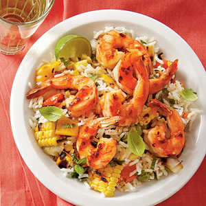 Grilled Lime Shrimp and Vegetable RiceRecipe