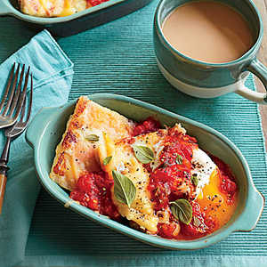 Country Ham and Gouda Grit Cakes with Tomato GravyRecipe