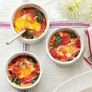 Baked Eggs with Spinach and TomatoesRecipe