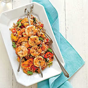 Grain Salad with Grilled Shrimp and Sweet PeppersRecipe