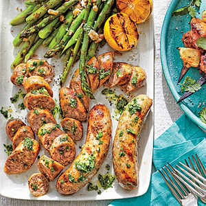 Grilled Sausages with Asparagus Recipe