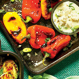 Charred Peppers with Feta Dipping SauceRecipe