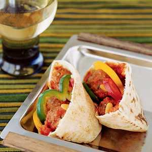 Lamb and Eggplant Meatball Pita SandwichesRecipe