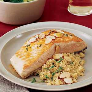 Orange-Seared Salmon with Almonds Recipe