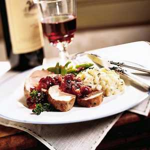 Peppered Pork Tenderloin with Cranberry-Onion CompoteRecipe