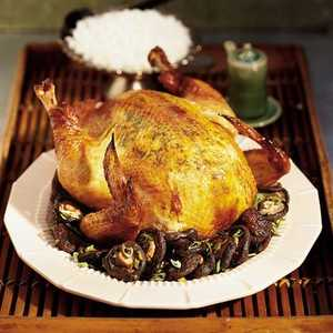 Soy-Ginger Roast Chicken with Shiitake MushroomsRecipe