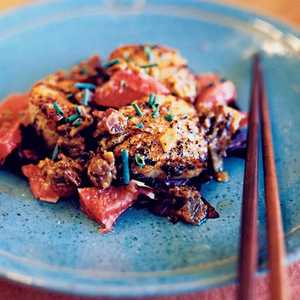Scallops with Miso, Ginger, and GrapefruitRecipe