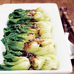 Pan-Steamed Asian Greens with Shiitake SauceRecipe