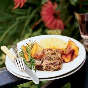 Lamb and Sausage Mixed Grill with Molasses-glazed NectarinesRecipe