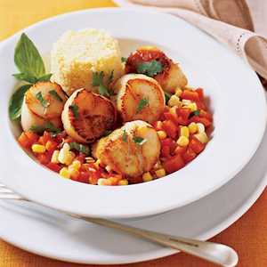 Quick Scallops with Peppers and CornRecipe