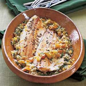 Fennel-Crusted Trout with Lemon-Ginger VinaigretteRecipe