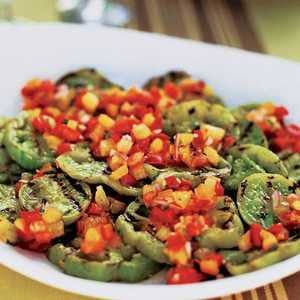 Grilled Green Tomatoes with Red and Yellow Tomato-Basil SalsaRecipe