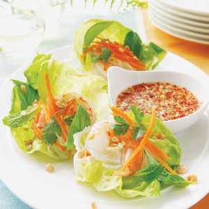 Vietnamese Shrimp Lettuce Wraps with Spicy Lime Dipping SauceRecipe