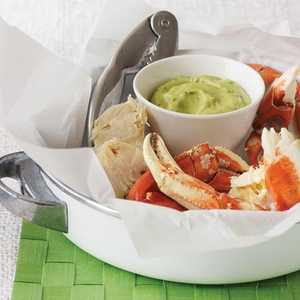 Cracked Crab with Herbed Avocado SauceRecipe