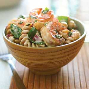Shrimp, Lemon, and Spinach Whole-grain Pasta Salad Recipe