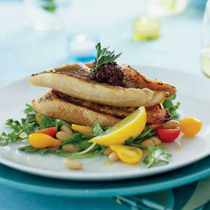 Red Snapper Fillets on Garlic Toasts with Arugula White-bean SaladRecipe