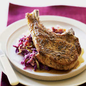 Pork Chops with Fresh Green and Red CabbageRecipe