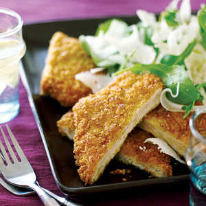 Pork Milanese with Arugula, Fennel, and Parmesan Salad Recipe