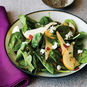 Spinach, Pear, and Pancetta SaladRecipe