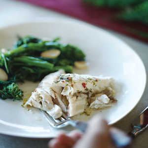 Salt-baked Striped Bass with Herb Lemon Chile Sauce (Branzino Sotto Sale con Salmoriglio)Recipe
