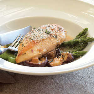 Pan-roasted Chicken with Asparagus and ShiitakesRecipe