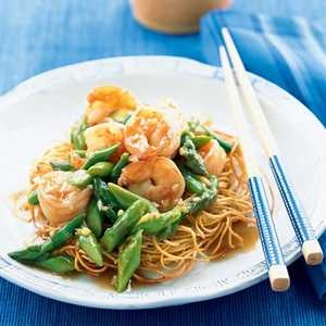 Asparagus and Shrimp Stir-Fry on Noodle PillowsRecipe