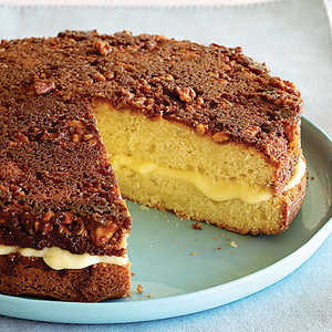 Custard-filled Walnut-topped CakeRecipe