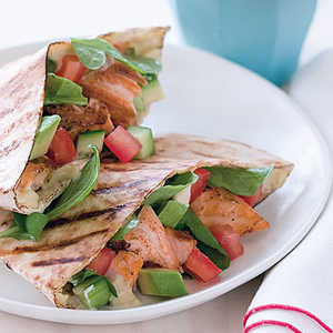 Grilled Salmon Avocado Pitas Recipe