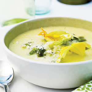 Corn Soup with Roasted Poblanos and Zucchini Blossoms Recipe