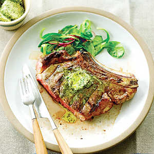 Grilled Grass-fed Rib-eyes with Herb Lemon ButterRecipe
