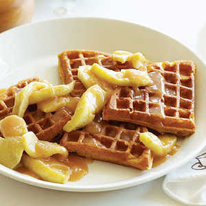 Buttermilk Pumpkin Waffles with Apples and Apple Cider SyrupRecipe