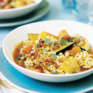 Pearl Couscous with Fall Vegetables and Caramelized OnionsRecipe
